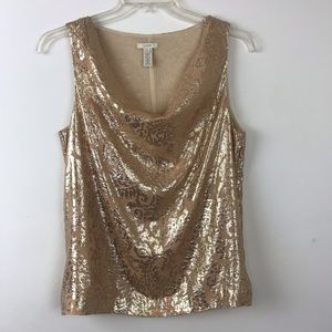 J Crew  Gold Metallic Draped Neckline Tank Top